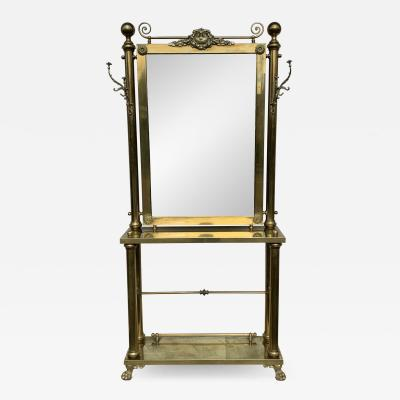 Brass Hall Tree Console Table Mirror