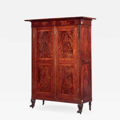Brass Inlaid Carved Mahogany Armoire