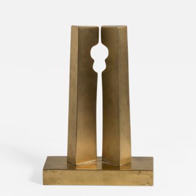 Brass Modernist Sculpture signed