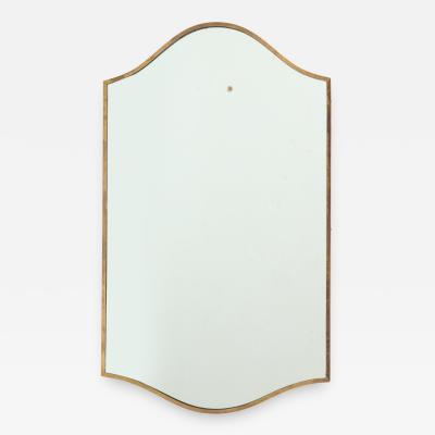 Brass Shield Shaped Mirror Italy c 1950