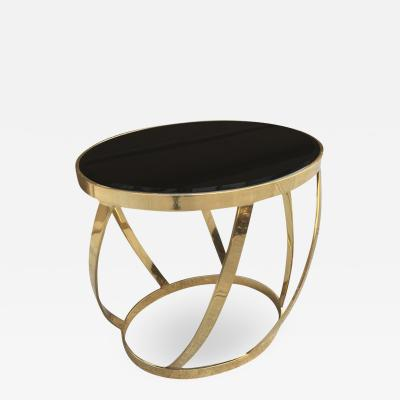 Brass Side Table with Smoked Glass Top by Karl Springer