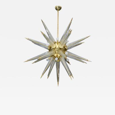 Brass Sputnik Chandelier with Murano Glass Spikes