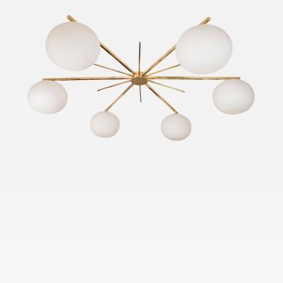 Brass Starburst Form Flush Mount Ceiling Fixture