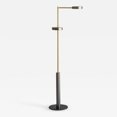 Brass Two Cylinders Floor Lamp Square in Circle