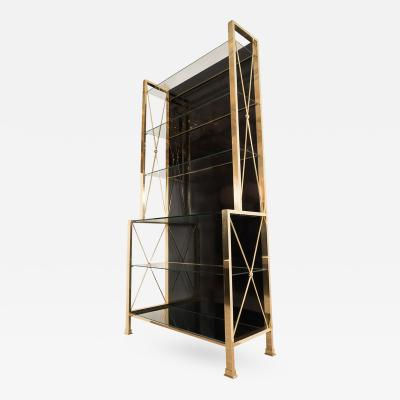 Brass and Black Glass Etagere