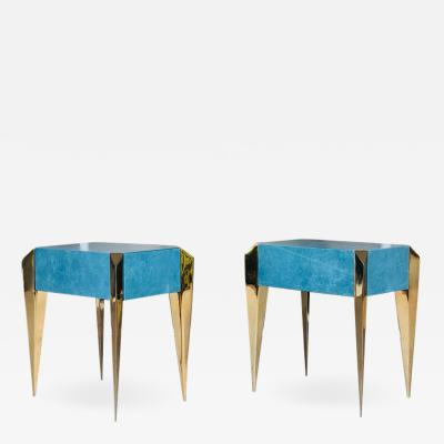 Brass and Blue Leather Sculptural Modern Side End Tables 1980s