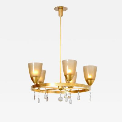 Brass and Crystal Chandelier Swiss 1940s