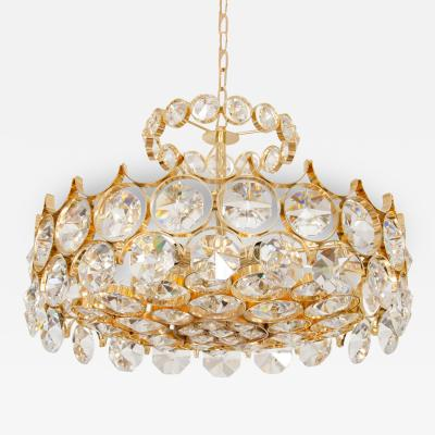 Brass and Facet Cut Crystal Chandelier