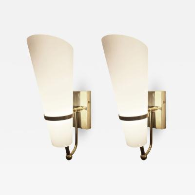 Brass and Frosted Glass Sconces Italy 1960s