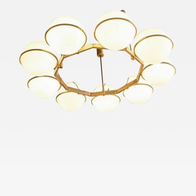 Brass and Glass Chandelier from the Grand Hotel President 3 Available