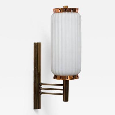 Brass and Glass Column Sconce