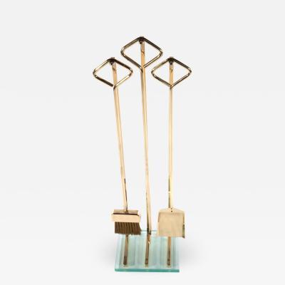 Brass and Glass Fireplace Tool Set Circa 1970s