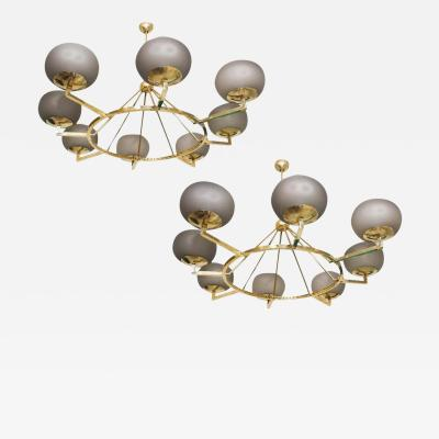 Brass and Grey Opaline Murano Glass Large Modern Chandelier Stilnovo Style