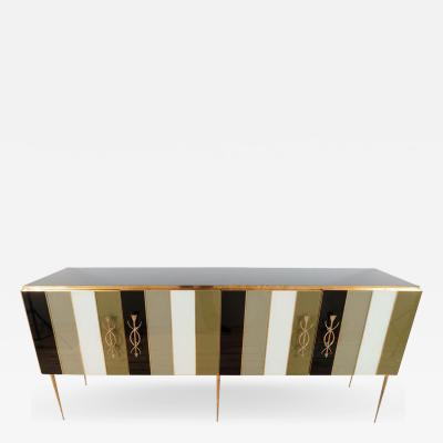 Brass and Ivory Black and Taupe Green Tinted Glass Sideboard Italy 2019