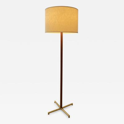 Brass and Leather Floor Lamp