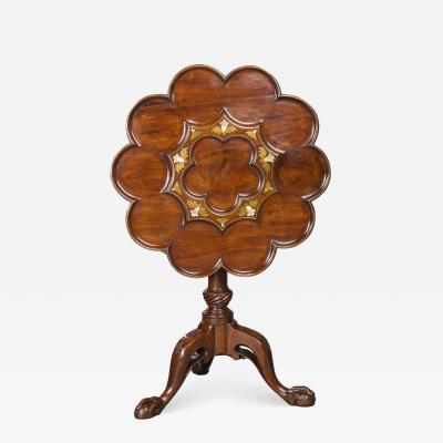 Brass and Mother of Pearl Inlaid Tripod Table in the Manner of Frederick Hintz
