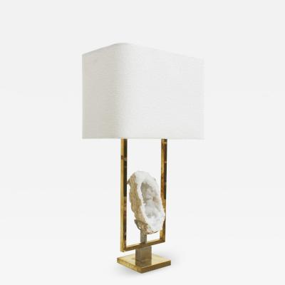 Brass and Natural Stone Table Lamp France 1970s