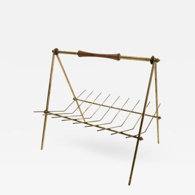 Brass and Solid Wood Magazine Rack Italy 1950s