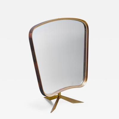 Brass console mirror on tripod foot Germany 1950s