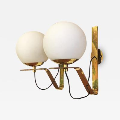 Brass wall lamps with lampshade in opal glass 1950s