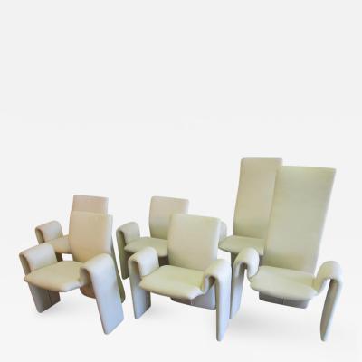 Brayton International Collection Steve Leonard for Brayton International White Dining Chairs Set of 6
