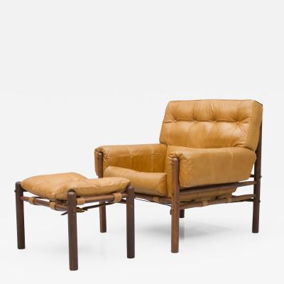 Brazilian Lounge Chair with Ottoman in Cognac Brown Leather 1970s