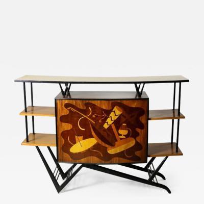 Brazilian Mid Century Modern Musical Theme Marquetry Dry Bar Brazil 1950s