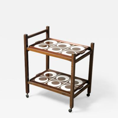 Brazilian Mid Century Modern Tile and Hardwood Tea Cart Brazil 1960s