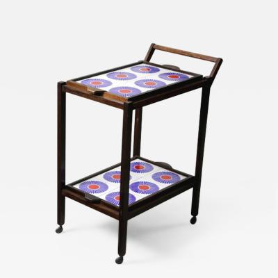 Brazilian Mid Century Modern Tiled Tea Cart with Removable Trays Brazil 1960s