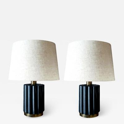 Brazilian Modernist Lamps in Ebonized Wood and Bronze