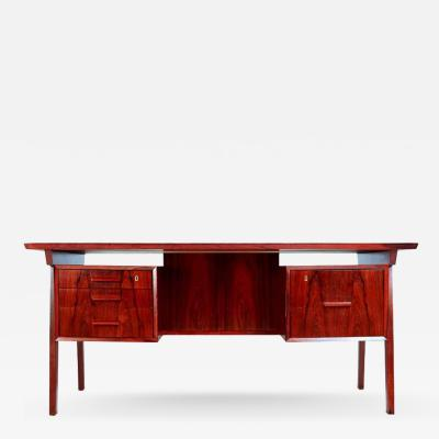 Brazilian Rosewood Desk with Reverse Bookshelf
