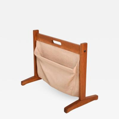 Brdr Furbo Danish Modern Teak and Canvas Magazine Holder Rack Brdr Furbo