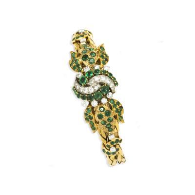 Breitling Rare 1970s Breitling 18kt Emerald Diamond Concealed Leaf Motif Bracelet Watch