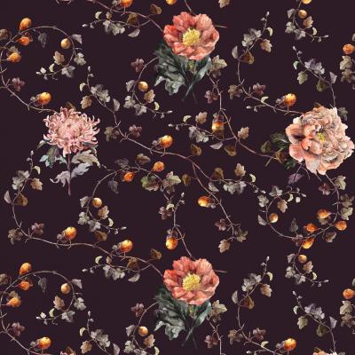 Brett Design Fig with Blooming Flower Violet