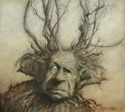 Brian Froud Three Headed Man Fantasy illustration
