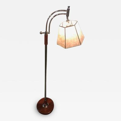 Bridge Floor Lamp with Mica shade in the style of Deskey or Rhode