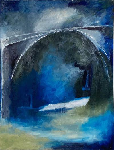 Bridge in Blue American Circa 1950