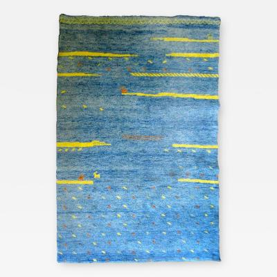 Bright Blue High Pile Gabbeh Rug