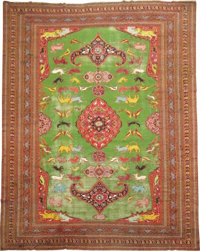 Bright Green Persian Pictorial Meshed Rug rug no 9822