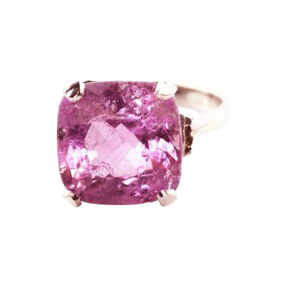 Brilliant Intense Visually Flawless 13 1 Cts Pink Kunzite Silver Ring