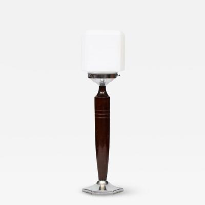 British Art Deco Walnut Opal Glass Table Lamp