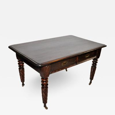 British Colonial Desk with Two Drawers and Twist Legs with Casters