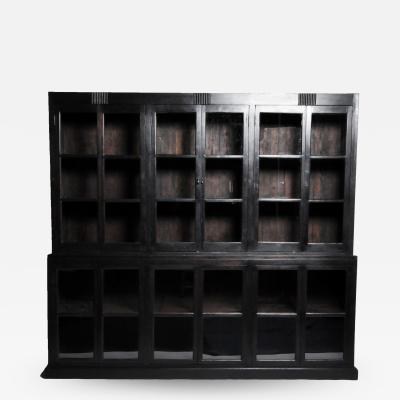 British Colonial Teak Wood Breakfront Bookcase