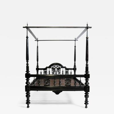 British Colonial Teak Wood Queen Size Bed