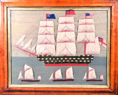 British Sailors Folk Art Woolwork With Trapunto Sails