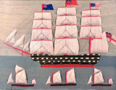 British Sailors Folky Woolwork or Woolie With Trapunto Sails