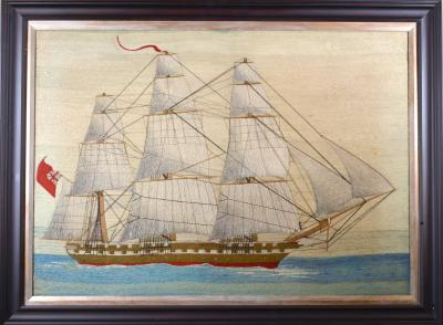 British Sailors Large Woolwork of Royal Navy Ship