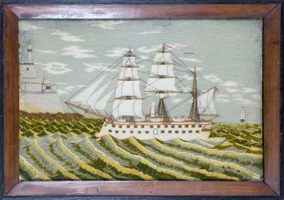 British Sailors Woolwork Picture of a Ship on Unusual Green Sea