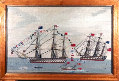 British Sailors Woolwork Woolie of Two Battleships one Fully Dressed