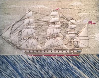 British Sailors Woolwork of Ship on Unusual Sea